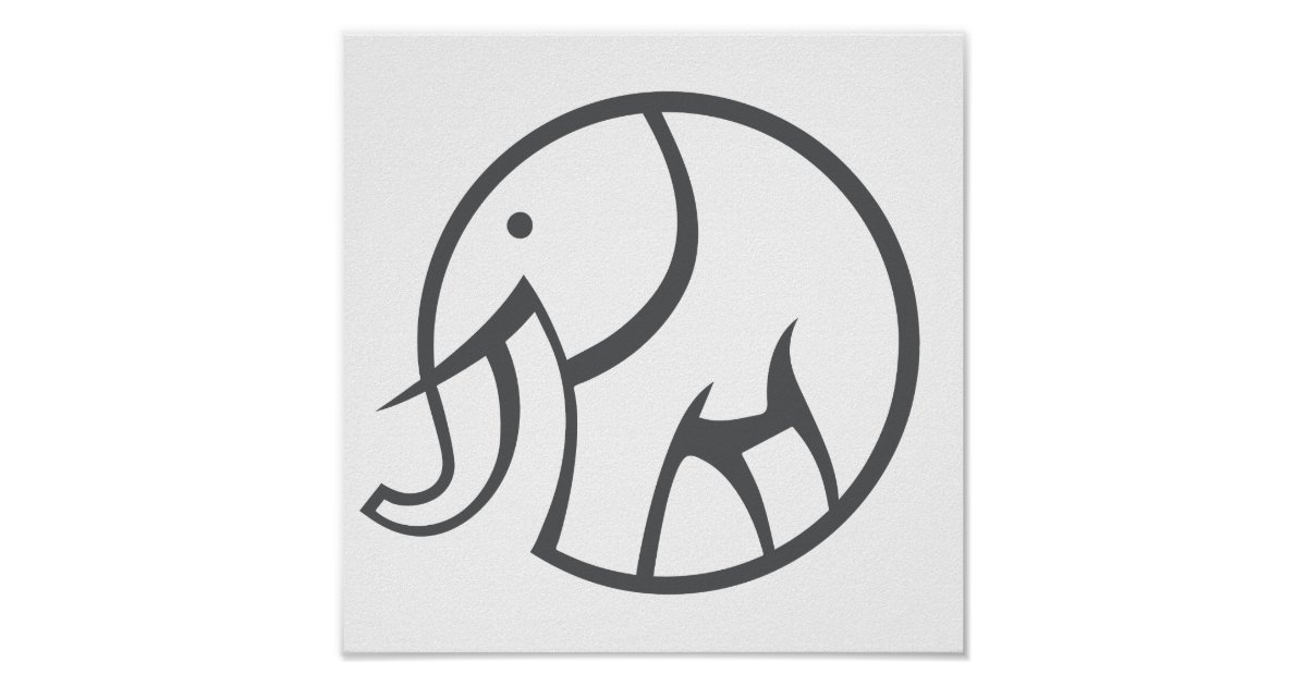 elephant icon poster zazzle com usd