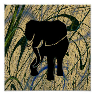 Elephant in Abstract Jungle Print Poster