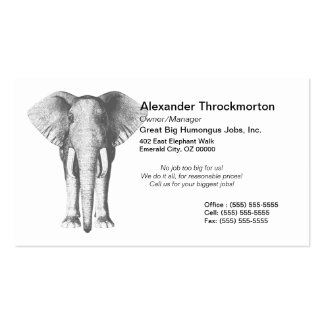 Elephant in Black and White Business Card Templates