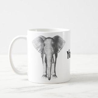 Elephant in Black and White Coffee Mug