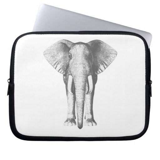 Elephant in Black and White Computer Sleeves