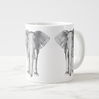 Elephant in Black and White Giant Coffee Mug
