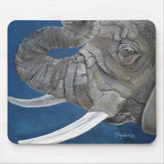 Elephant in Blue Mouse Pad