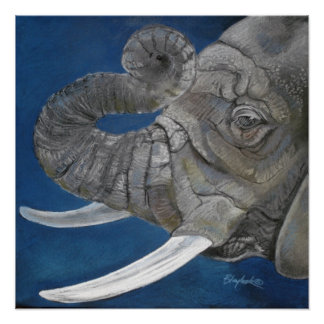 Elephant in Blue Poster