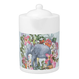 Elephant in flower jungle 1 teapot