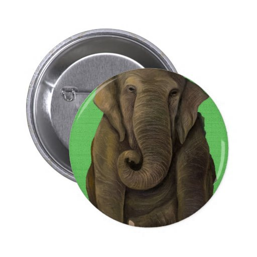 Elephant In Green 2 Inch Round Button