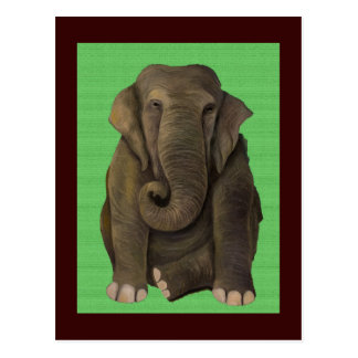 Elephant In Green Post Card