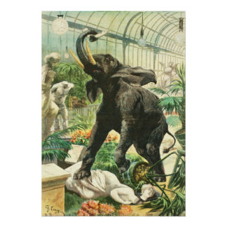 Elephant in greenhouse - 1900 French newspaper Poster