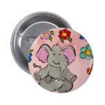 Elephant in meditation button