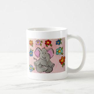 Elephant in meditation classic white coffee mug
