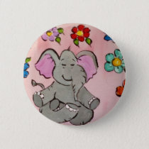 Elephant in meditation pinback button