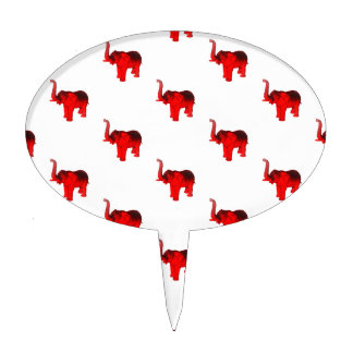 Elephant In Red Oval Cake Topper