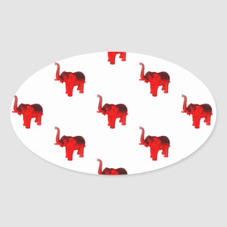 Elephant In Red Oval Sticker