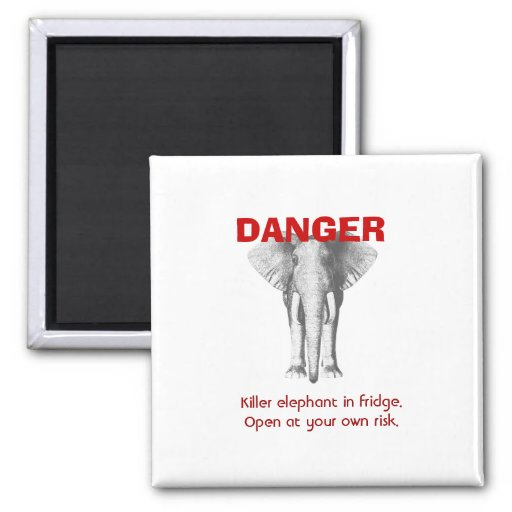 Elephant in Refrigerator? 2 Inch Square Magnet