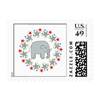 Elephant in Stars Postage