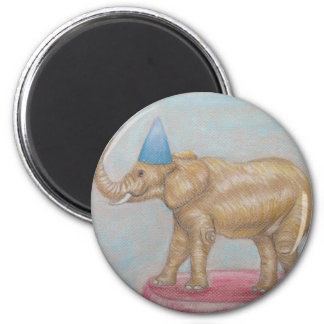 elephant in the circus 2 inch round magnet