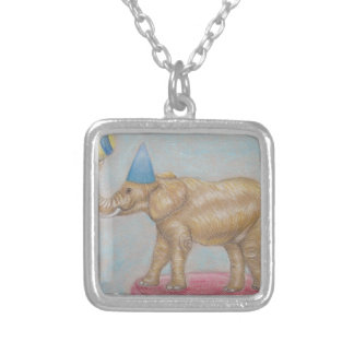 elephant in the circus silver plated necklace
