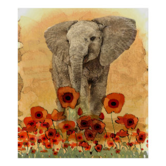 elephant In The Poppies Poster