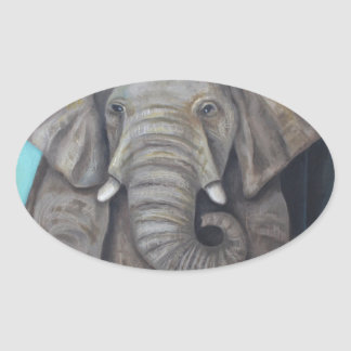Elephant In The Room 2 Oval Sticker