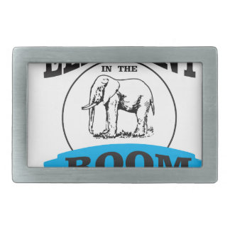 Elephant in the room blue rectangular belt buckle