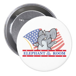 Elephant In The Room Political Pinback Button