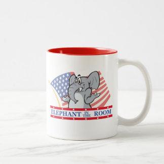 Elephant In The Room Political Two-Tone Coffee Mug