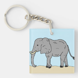 Elephant in the Savanna Keychain