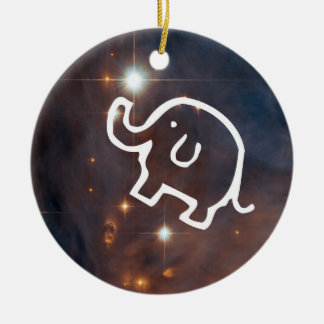 Elephant in the Stars Round Ornament