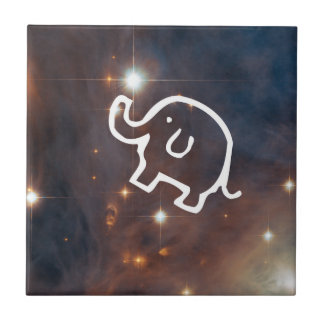 Elephant in the Stars Small Ceramic Tile