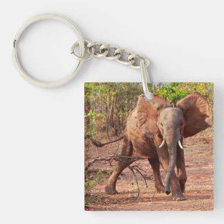 Elephant in Warning Pose Keychain