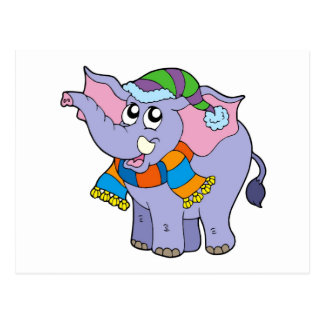 Elephant in winter clothes post card