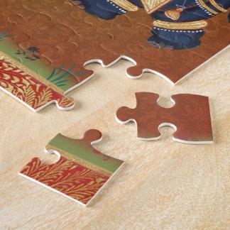Elephant India Yoga red blue samples Jigsaw Puzzle