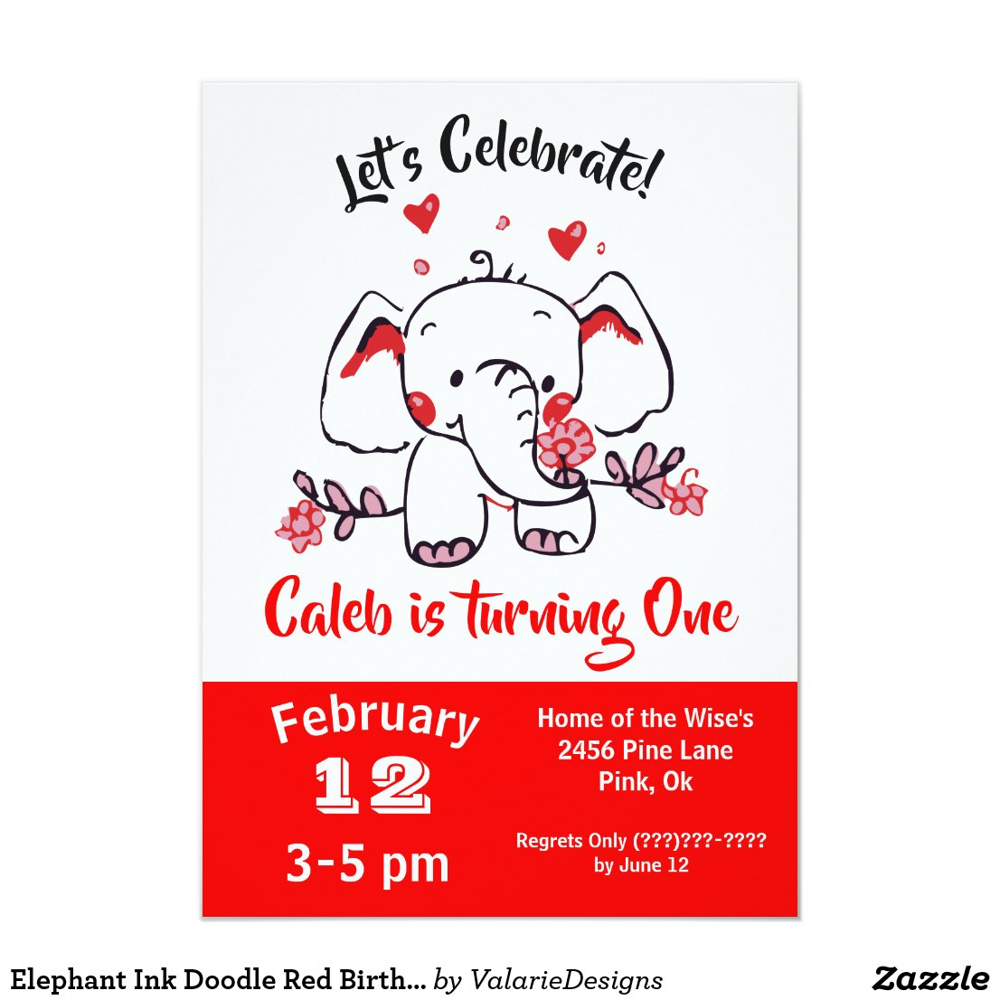 Elephant Ink Doodle Red Birthday Invitation