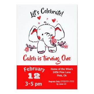 Elephant Ink Doodle Red Birthday Invitation