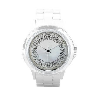 Elephant Ink Illustration on White Faux Shell Wristwatch