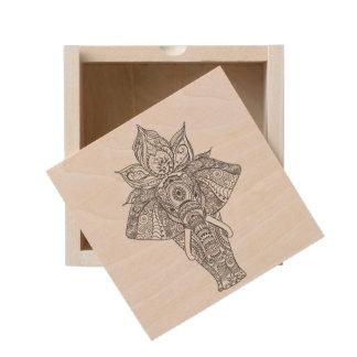 Elephant Inspired Wooden Keepsake Box