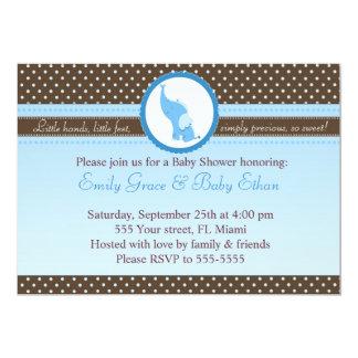 Elephant Invitation Baby Boy Shower Blue Brown
