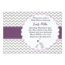 Elephant Invitation Purple Chevron Baby Shower
