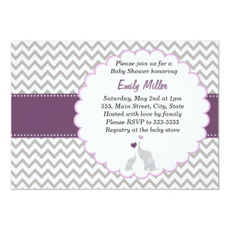 Elephant Invitation Purple Chevron Baby Shower