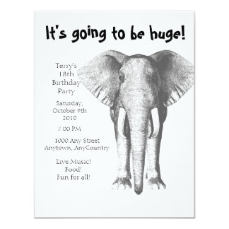 Elephant--It's going to be huge- Birthday Personalized Announcement