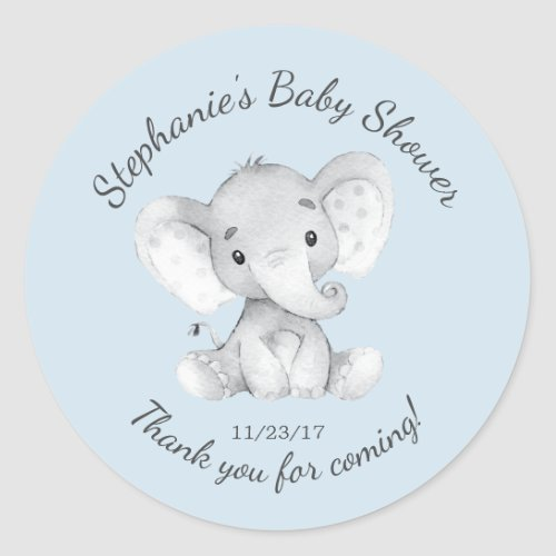 Elephant Jungle Animals Baby Shower Favor Sticker
