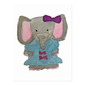 Elephant Jungle Friends Baby Animal Water Color Postcard
