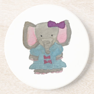 Elephant Jungle Friends Baby Animal Water Color Sandstone Coaster