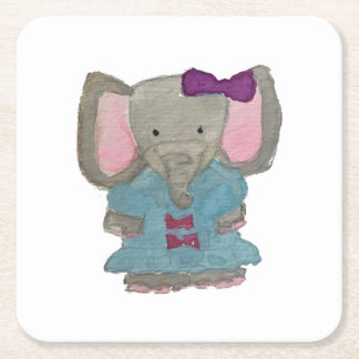 Elephant Jungle Friends Baby Animal Water Color Square Paper Coaster