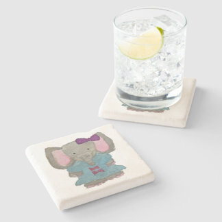 Elephant Jungle Friends Baby Animal Water Color Stone Coaster