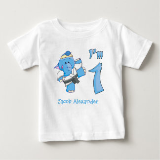 Elephant Karate 1st Birthday Baby T-Shirt