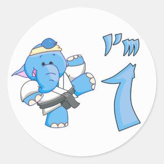 Elephant Karate 1st Birthday Classic Round Sticker