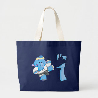 Elephant Karate 1st Birthday Large Tote Bag