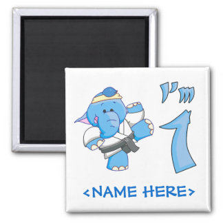 Elephant Karate 1st Birthday Magnet