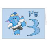 Elephant Karate 3rd Birthday Stationery Note Card